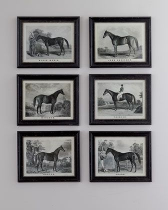 Whether your passion is racing, horses, or vintage-style prints, this collection of hand-drawn prints of Grand Champion racehorses from bygone eras is the perfect choice. #gallerywall