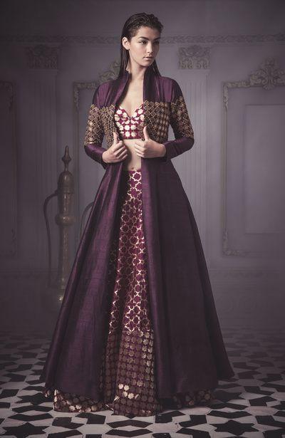 aubergine jacket lehenga , open jacket lehenga , bustier skirt , purple silk outfit , purple and gold outfit