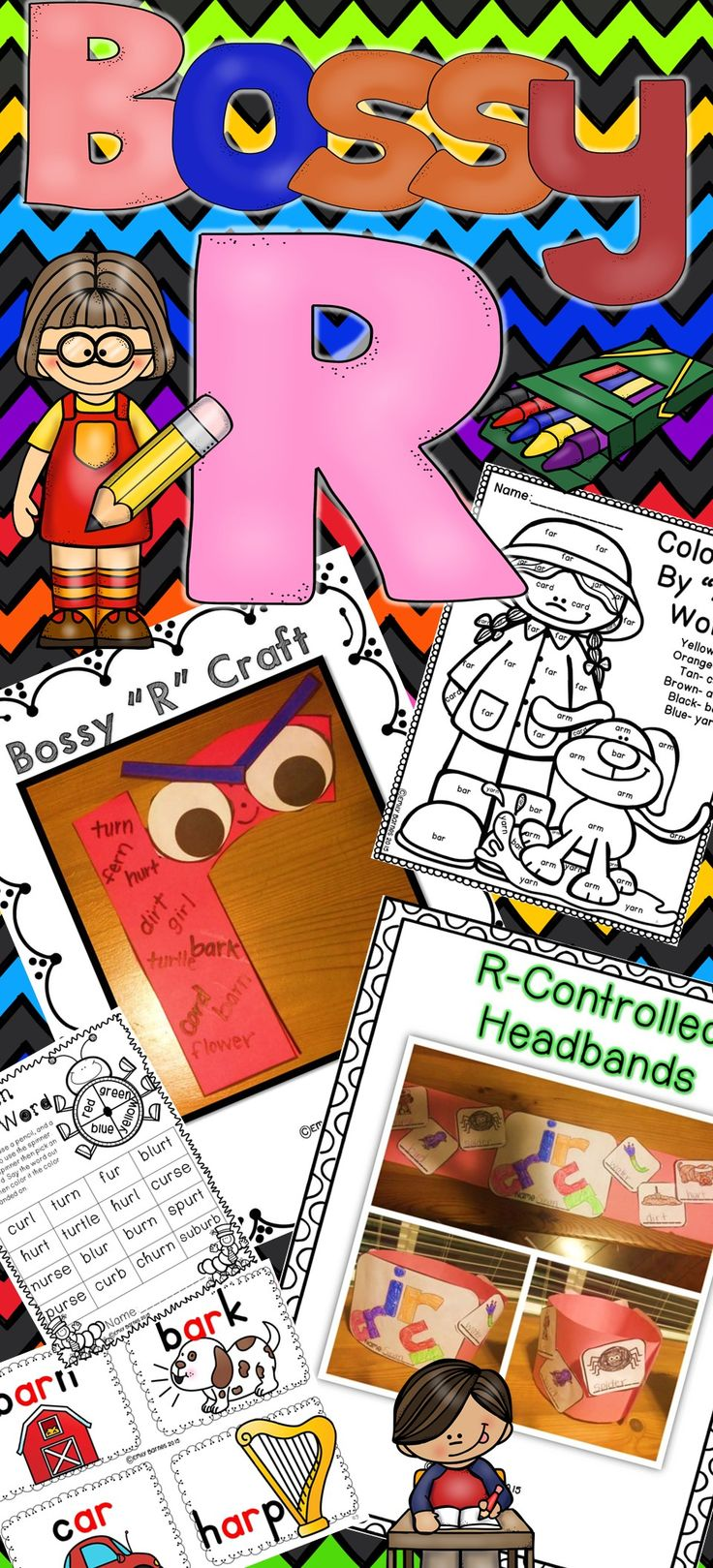 Bossy R Crazy: R controlled vowel activity pack. Crafts, PowerPoint, centers, headbands, and more!