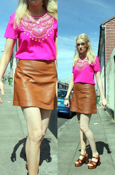Get this look: http://lb.nu/look/8170551  More looks by Roxanne Rokii: http://lb.nu/roxannerokii  Items in this look:  Miss Selfridge Hot Pink Embellished Top, Accessorize Clear Cuff With Gold Gems 2015, Topshop Tan Aline Leather Skirt 2014, Schuh Tan Platforms 03.2016   #rokii #roxm #fashion #clothing #style #look #stylist #ootd #mystyle