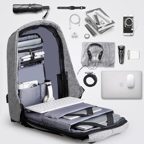 This backpack is designed in a secure and multi-functional style. There's a hidden zipper inside to protect your stuff inside the bag. It's has 4 main functions: High-capacity, well-chosen material, burden-reducing system and USB charger (power bank not included). It's bigger, safer and more convenient. A backpack for stylish people who care about the safety of their belongings.