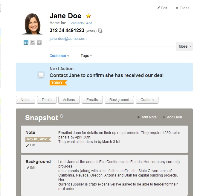 OnePage CRM - Contacts Details