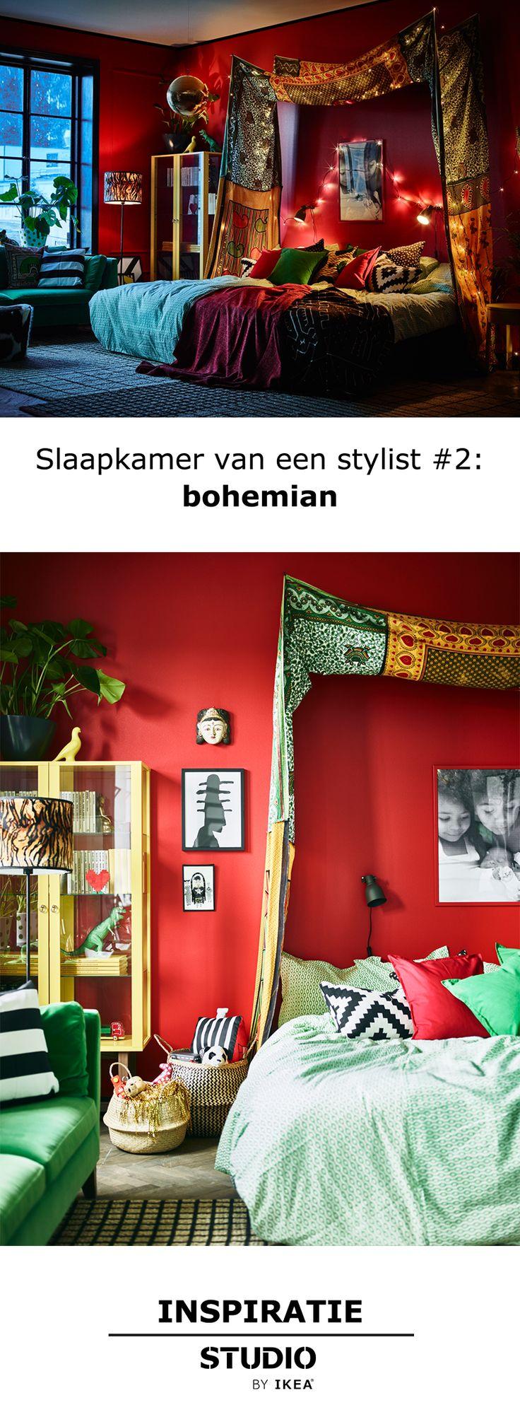 Inspiratie - Slaapkamer van een stylist: bohemian | STUDIObyIKEA IKEA IKEAnl IKEANederland slaapkamer slapen bed kleur kleurrijk primair groen rood geel bohemian