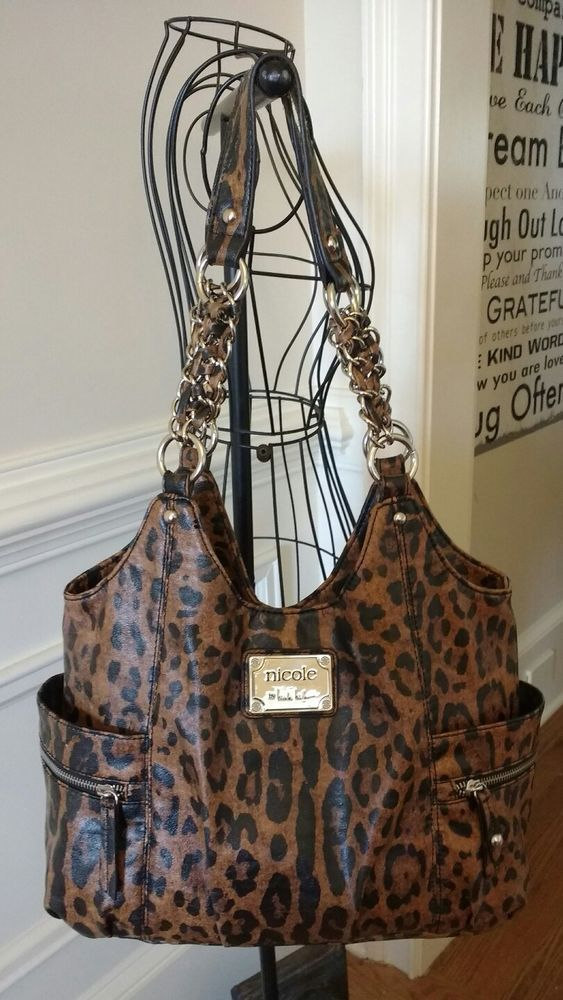 BEAUTIFUL NICOLE BY NICOLE MILLER ANIMAL PRINT LARGE  PURSE WITH CHAIN STRAPS #NicoleMiller #ShoulderBag