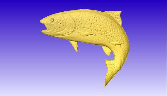 Trout 3d Vector Art for cnc projects or carving patterns and models in stl file format
