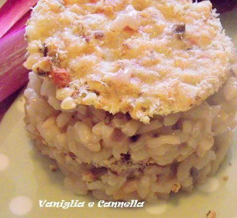 risotto con cialda al parmigiano e nocciole