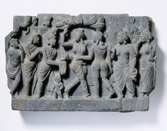 The Birth of the Buddha. Pakistan, 1 - 100 AD. Museum no. IM 109-1927 Copyright Copyright Victoria and Albert Museum