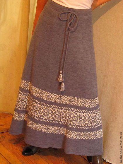 юбка вязанная с орнаментом - тёмно-серый,орнамент,юбка в пол,юбка вязаная