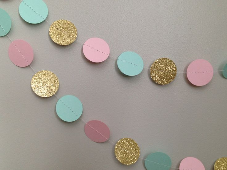 Gold glitter, light pink, blue mint 10 ft. circle paper garland, baby shower bridal shower birthday party wedding gender reveal by SewBotGirl on Etsy https://www.etsy.com/listing/222141081/gold-glitter-light-pink-blue-mint-10-ft