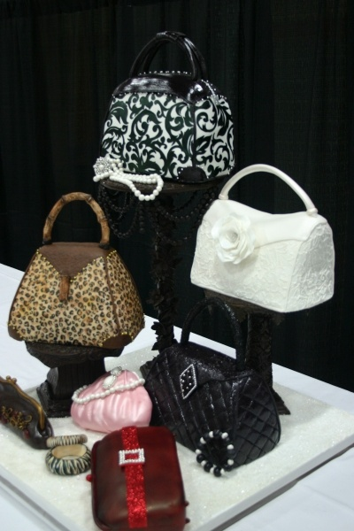 Purse Cake Display with edible jewelry. RUNNER UP in Iowa's Premier Wine and Food Expo 2009!