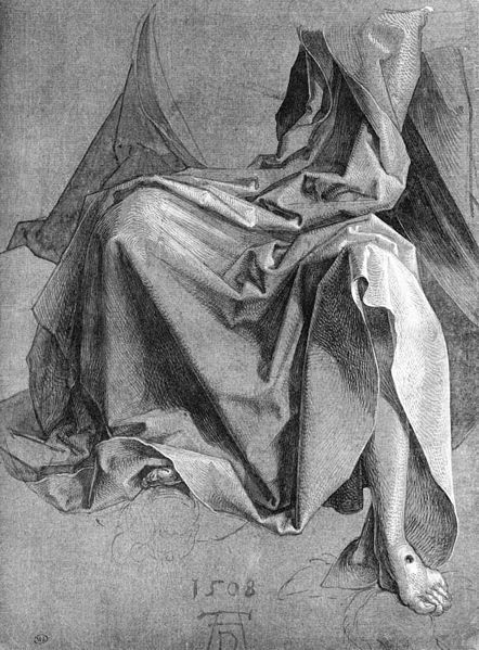 Albrecht Durer - study of drapery - a brush drawing on dark paper with white highlights says wikipedia