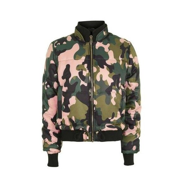 Topshop Pink Camo Puffer Jacket ($85) ❤ liked on Polyvore featuring outerwear, jackets, pink, collar jacket, camouflage jacket, puffy jacket, puff jacket and bomber jacket