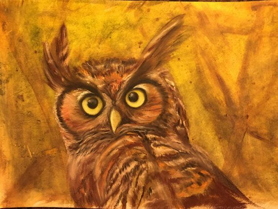 OWL Want This original mixed media painting by giftsofcreation