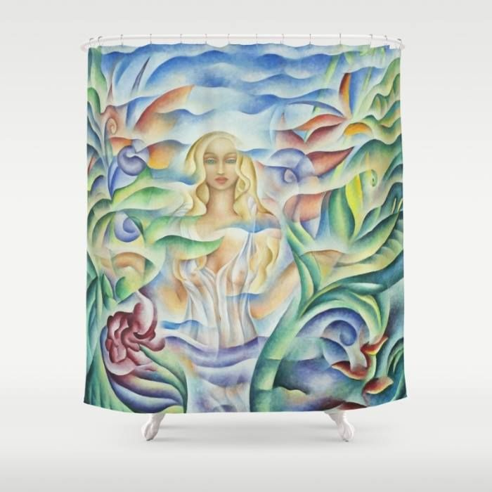 Shower Curtain.Design based on an oil painting by Monique Rebelle. Customize your bathroom decor with unique curtains designed by artists around the world. Made from 100% polyester our designer  curtains are printed in the USA and feature a 12 button-hole top for simple hanging. The easy care material allows for machine wash and dry maintenance. Curtain rod, shower curtain liner and hooks not included.  #curtain #shower #bathroom #woman #goddessart #womanempowement #decor #home