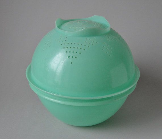 Vintage Tupperware plastic bowl and sifter in bright 50s mint green 60s Mid Century Modern house-ware kitchenware Wonderlier Bowl on Etsy, $30.77