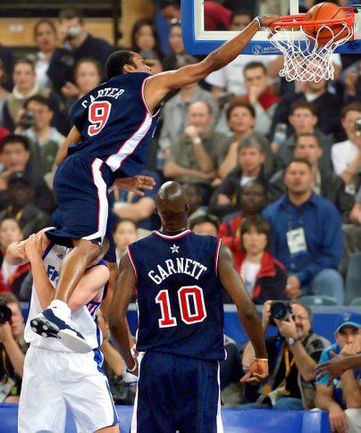 "Vince Carter dunking OVER a 7'2"" French player 2000 Sydney Games USA Basketball team"