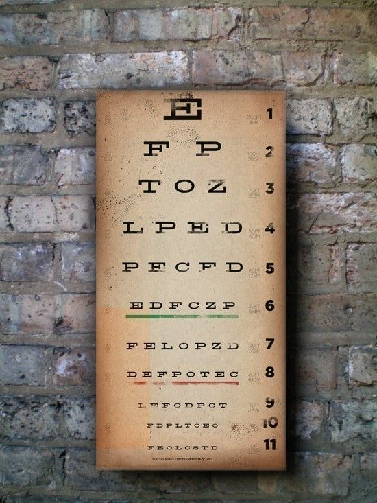 EYE exam chart vintage style graphic artwork collage on canvas 10 x 20 x 1.5 inches.