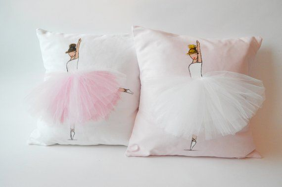 Ballerina Pillow Cover (white cover, light pink tutu) – Hand painted cushion Cover, Decorative Throw Pillow, Cover Cushion, Accent Pillow