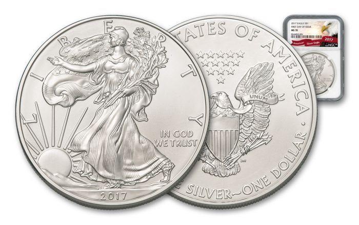 2017 1 Dollar 1-oz Silver Eagle NGC MS70 FDI