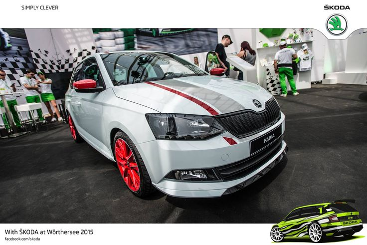 Red Savio 17-inch alloys and red wing mirror covers as well as the sports package, which includes a front spoiler, side sills, rear diffuser, and a black grille roof spoiler highlight the dynamic appearance #SKODAWoerthersee #Newfabia