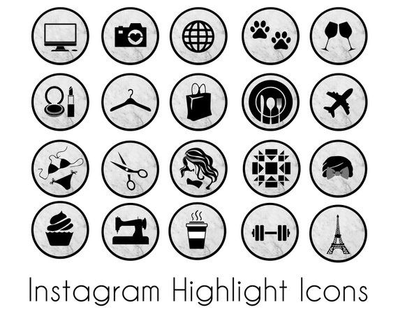 Instagram Story Highlights Icons Marbled Black And Gray 20 Etsy Icones Instagram Story Instagram Instagram