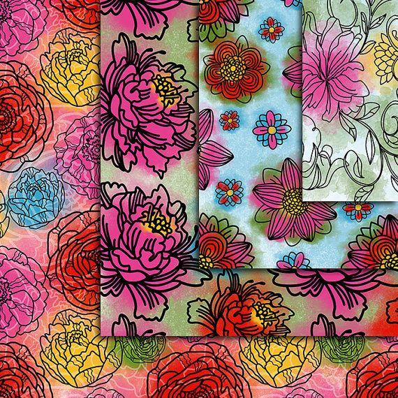 Watercolor Flower Digital Paper  Hand Painted 12pcs 300dpi