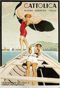 Cattolica, Italian Adriatic Riviera   ADV 1928 Vintage Travel poster #essenzadiriviera