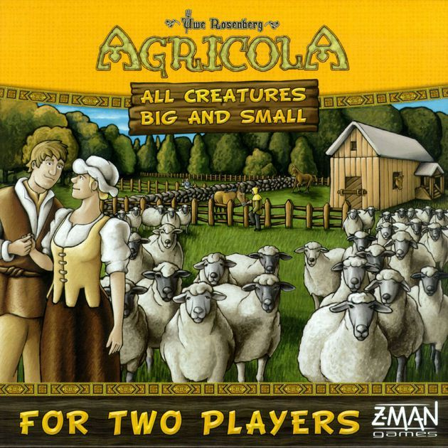 Agricola: All Creatures Big and Small is a new take on Uwe Rosenberg's Agricola designed for exactly two players and focused only on the animal husbandry aspect of that game. So long plows and veggies!  In Agricola: All Creatures Big and Small, you become an animal breeder of horses, cows, sheep and pigs and try to make the most of your pastures. Players start with a 3x2 game board that can be expanded during play to give more room for players to grow and animals to run free. Sixteen poss...
