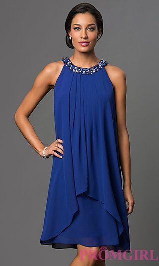Royal Blue Short Sleeveless Shift Dress at PromGirl.com