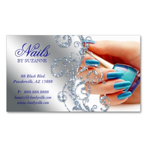 455 Nail Salon Business Card Glitter Blue Silver