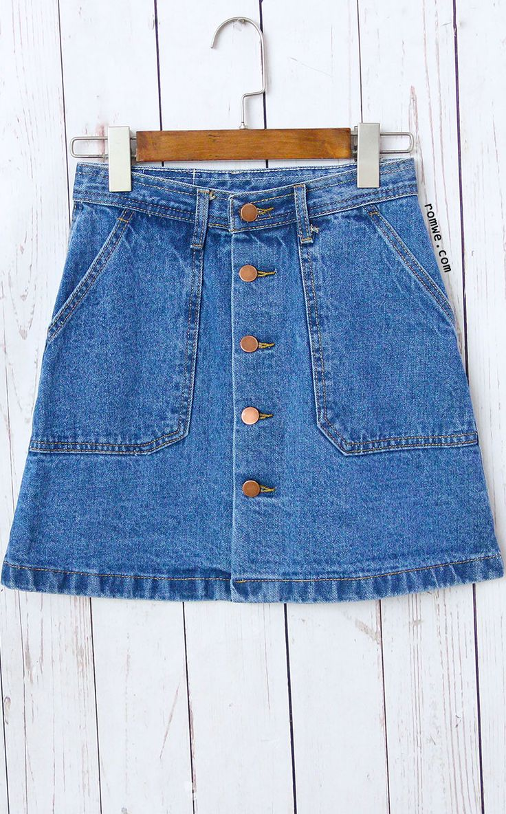 Single Breasted Denim A-Line Skirt