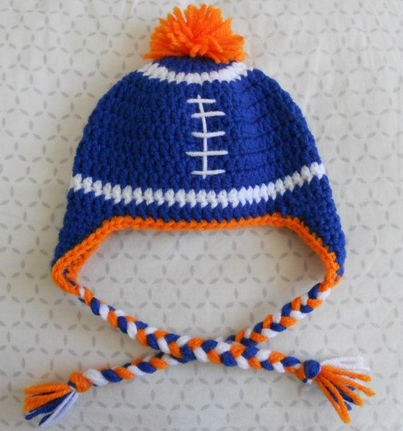 209ea6a71 Crochet Baby Devner Broncos Football Earflap Hat by MyWindowSIL ...