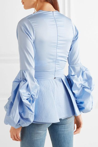 Sky-blue cotton-poplin Concealed hook and zip fastening at back  100% cotton  Dry clean  Imported