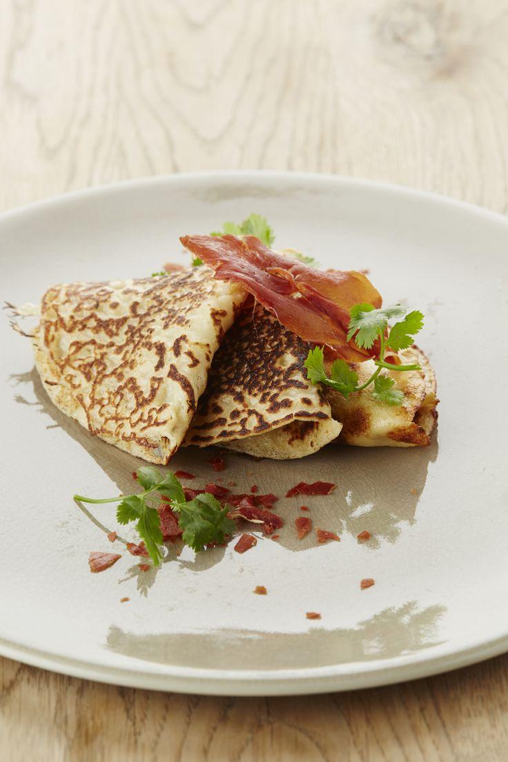 Pannenkoekjes met Vlaamse gedroogde hesp