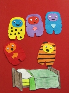 Five Crazy Monsters Jumping on the Bed