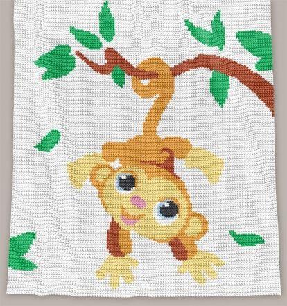 Crochet Pattern   Baby Blanket - Monkey (RBR)