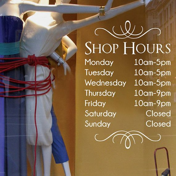 Best Business Hours Decals Images On Pinterest Window Decals - Window stickers for business hours