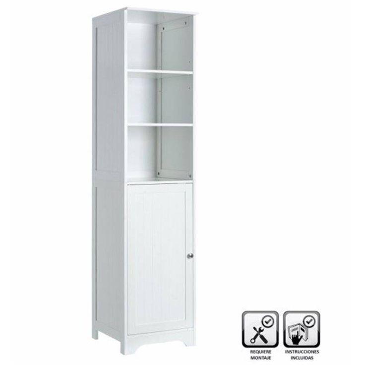 Mueble baño suelo 40x38x160cm 1 puerta 1cajón 2 lejas  #mueblesbano #armariobano