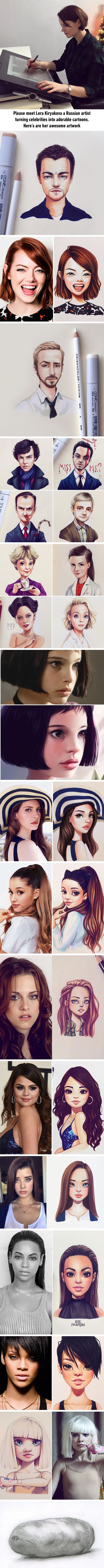 Russian artist turns celebrities into awesome cartoon characters