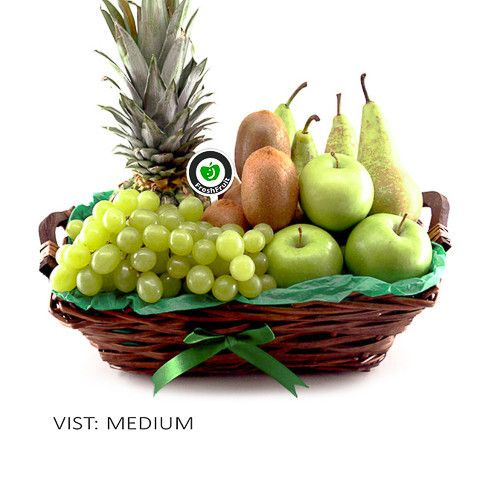 Green Lush is a gift basket that is decorated with green colors and filled with green fruit like pineapple, kiwi, apples, pears and grapes. This gift basket is suitable for most occasions. Freshly made and delivered to the door in Norway!