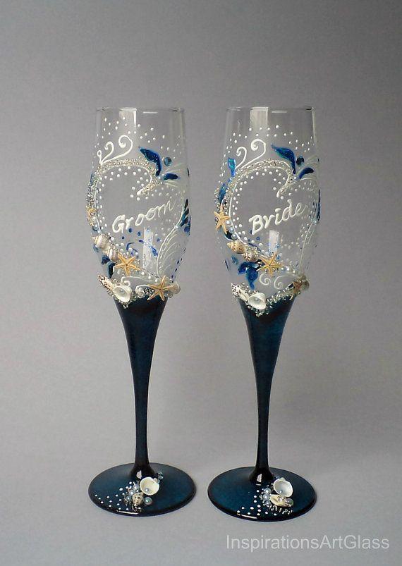Beach Wedding Glasses, Bride and Groom Wedding Glasses ...