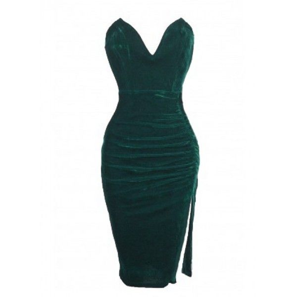 Emerald Green Velvet Sweetheart Ruched Dress (69 CAD) ❤ liked on Polyvore featuring dresses, bodycon cocktail dress, evening dresses, velvet cocktail dress, sweetheart neckline cocktail dress and special occasion dresses