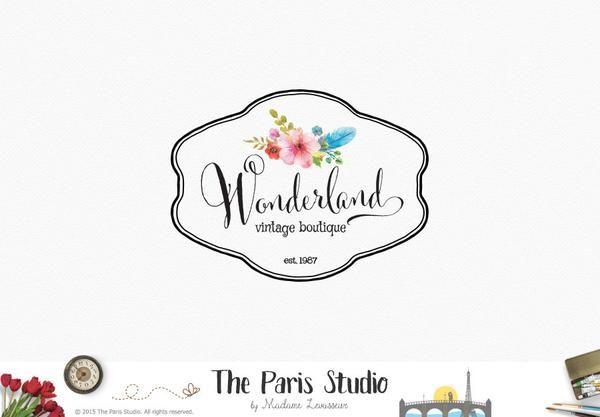 Vintage Frame Floral Logo Design #handdrawn #vintage #watercolor #LogoDesign #EtsyShop #Wordpress #Website Header Blog #Branding #SquareSpace #photography #branding