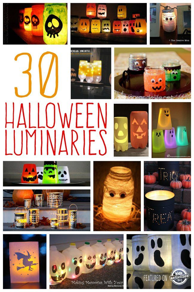 Making Halloween Luminaries From Recycled Items   Creating a set of luminaries to line your walk way on Halloween night can be just the extra little touch that you home needs to attract those adorable little trick or treaters.  This list of 30 ideas will leave your imagination running with ways to make some for yourself.  With so many options to choose from, you may find it hard to narrow down the options to just one.  Take a look through the list as see for yourself.