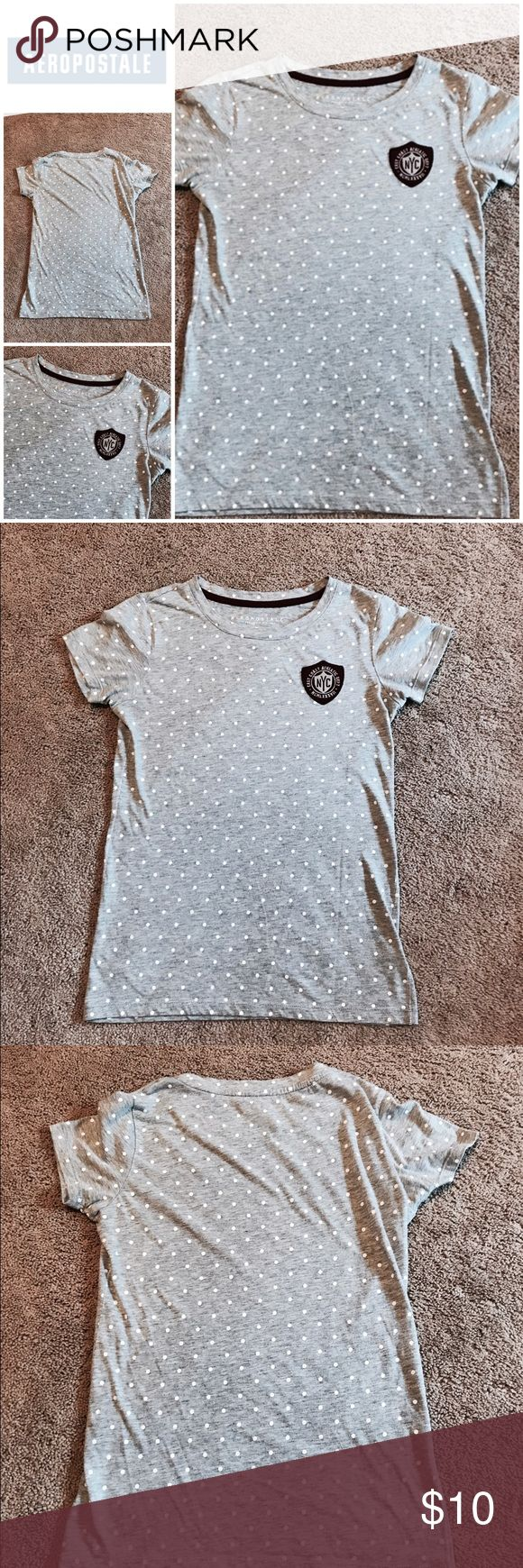 Aeropostale gray and white polka dot t shirt This is an adorable gray with white polka dot t shirt with a patch on the front made by Aeropostale. Aeropostale Tops Tees - Short Sleeve