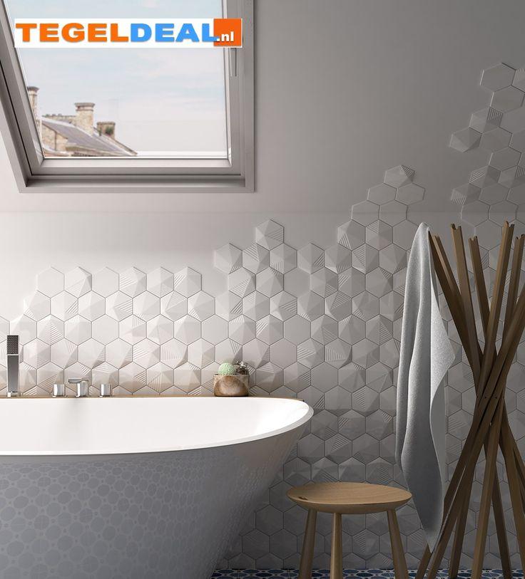 Tegels Limburg - Wandtegel Scale Hexagon / honingraat, 6-hoekig, 12,4 x 10,7 cm, diverse kleuren - Tegeldeal.nl