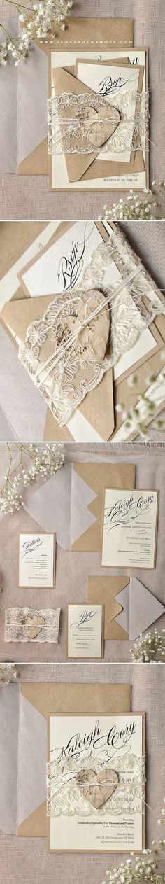 Rustic Romantic Wedding Invitations with real lace & birch bark heart tag…