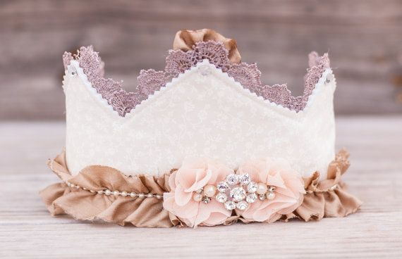 First Birthday Crown - Shabby Chic Party Hat - Lace Photo Prop -  Couture Crown - Princess Dress Up - Birthday Hat