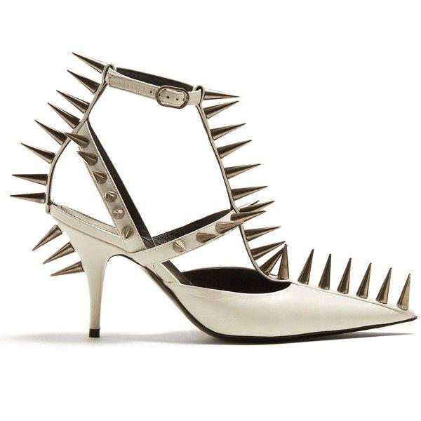 Spike-embellished leather pumps Balenciaga MATCHESFASHION.COM ($1,650) ❤ liked on Polyvore featuring shoes, pumps, spiked shoes, leather shoes, embellished shoes, spiked pumps and leather pumps