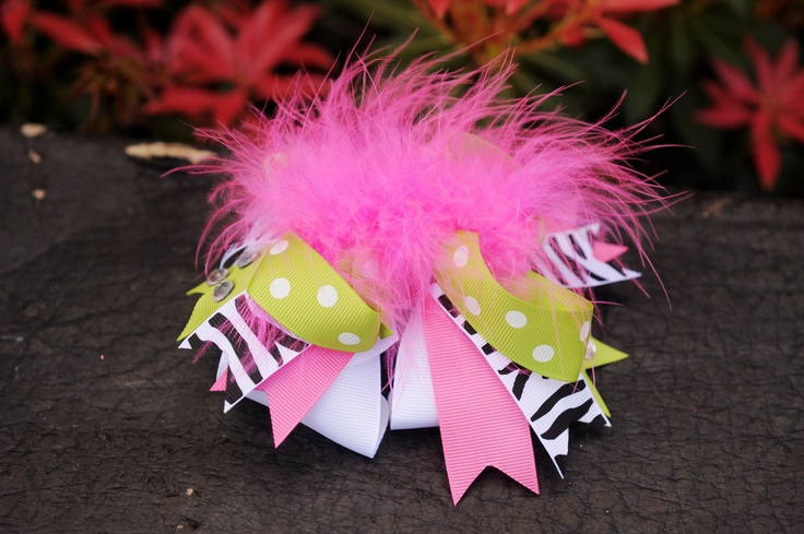 Combination of lime green zebra pink and white ribbon - Combination of green and pink ...